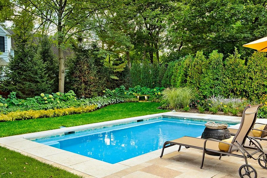 Lovely Garden With Various Plants also Small Pool Designs and Beach Chair