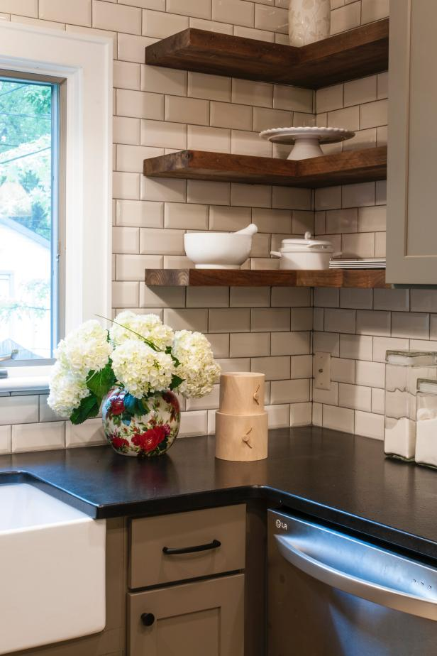 Luring Kitchen Design With Corner Wooden Mounted Shelves and White Backsplash