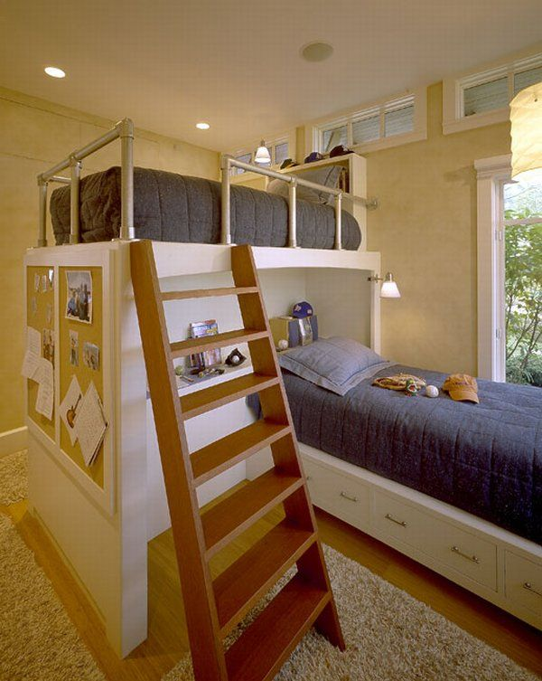 Lush Bunk Beds With Wooden Ladder also Shelve Plus Wall Lamp