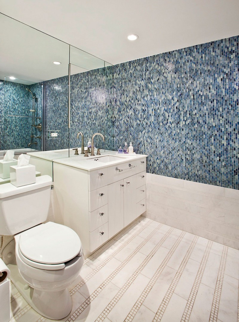 Luxurious Bathroom Tiles Ideas For Decorating Wall also Neat Vanity Beside Toilet