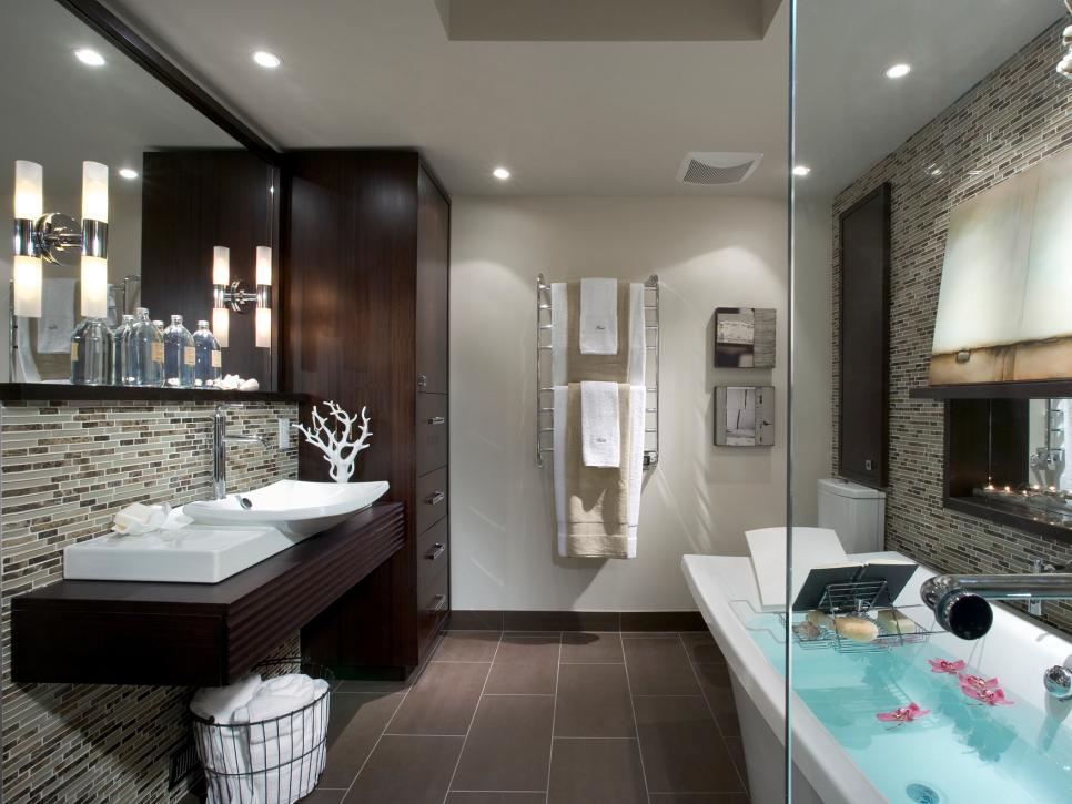 Luxurious Bathroom With Floating Cabinet also Mirror Plus Small Storage