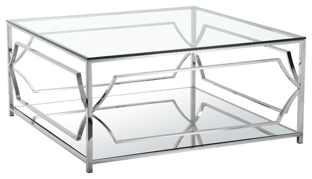Luxurious Concept Of Square Glass Coffee Table With Chrome Legs and Frames