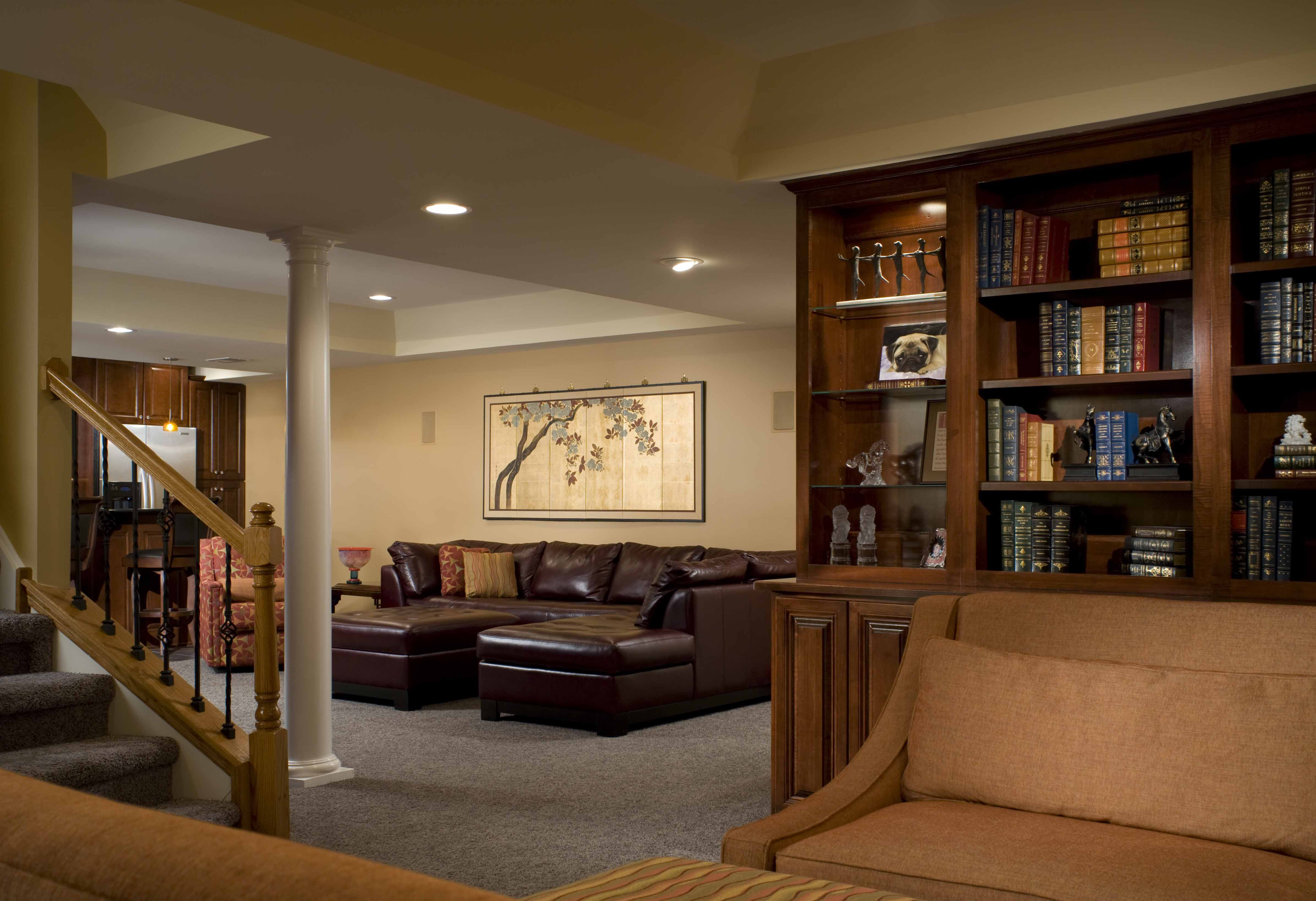 Luxurious Furniture For Basement Decorating Ideas Using Brown Leather Sofa Set
