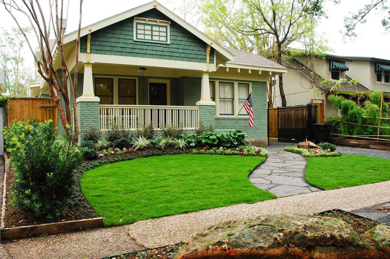 Luxurious Yard With Fresh Grasses also Plants and Concrete Path