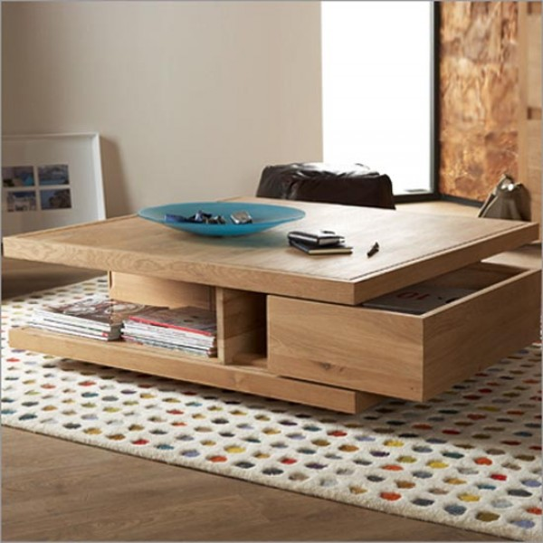 Luxuriouus Design of Square Wooden Table With Storage also Book Shelve