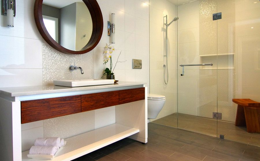 Genial Magnificent Bathroom With Visible Showering Area Also Vanity And Mirror