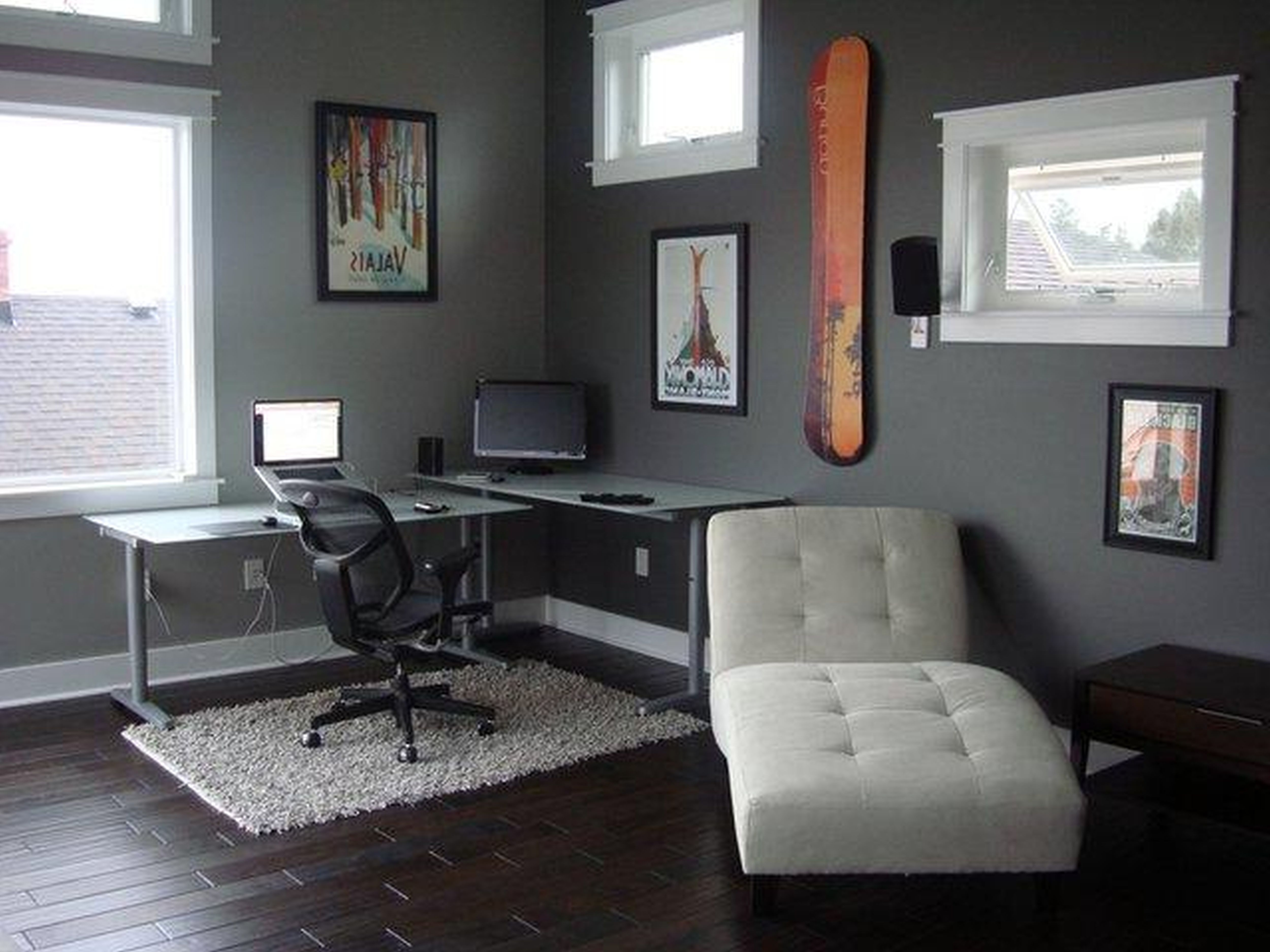 Magnificent Room Using Dark Chair also Two Wood Office Desk near Tufted Sofa
