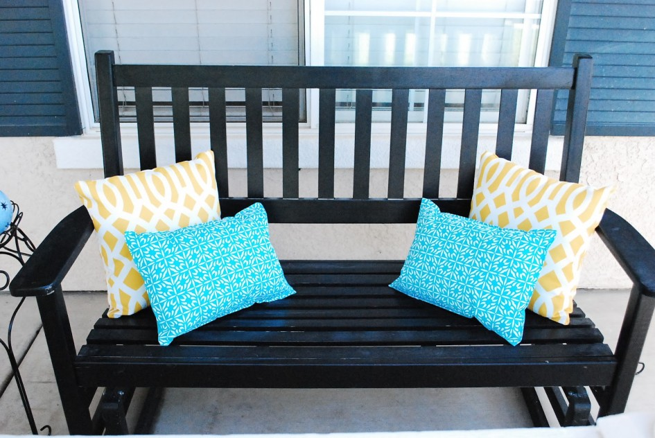 Marvelous Design Of Dark Wooden Porch Bench With Four Pillows