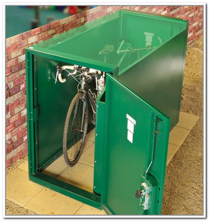 Marvelous Design Of The Bike Storage Outdoor With Green Color Ideas Added With Red Brick Wall And Brown Floor Ideas