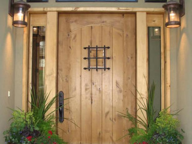 Marvelous Design Of The French Front Door With Young Brown Wooden Color Materials Added With Two Wall Mounted Lamp Ideas