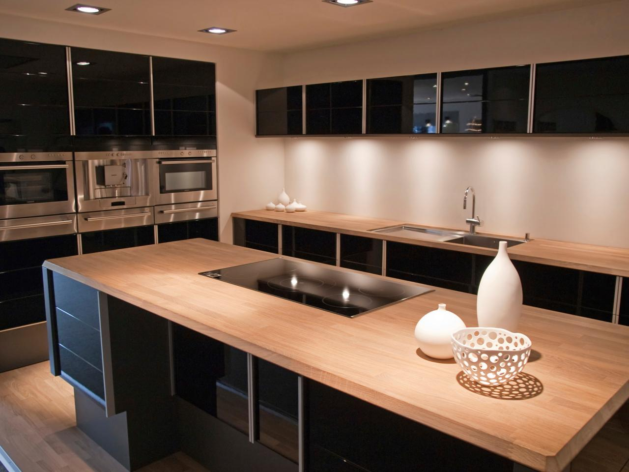 Marvelous Design Of The Kitchen Countertop Materials With Young Brown Wooden Color Materials Added With Black Wooden Cabinets