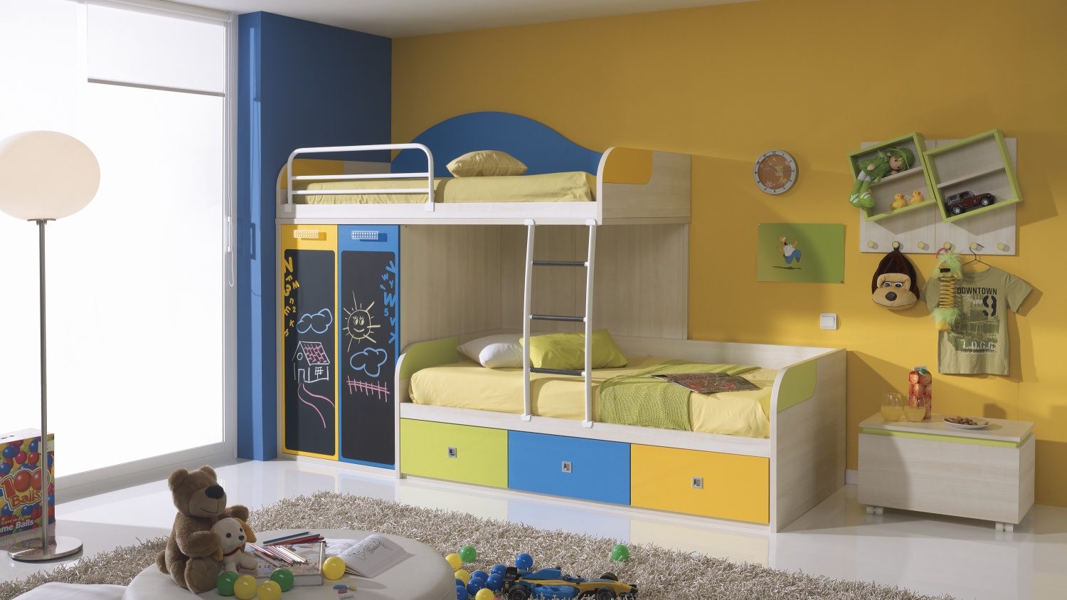 Marvelous Design Of The Loft Bed With Storage With Yellow Wall Added With Blue Curtain Ideas