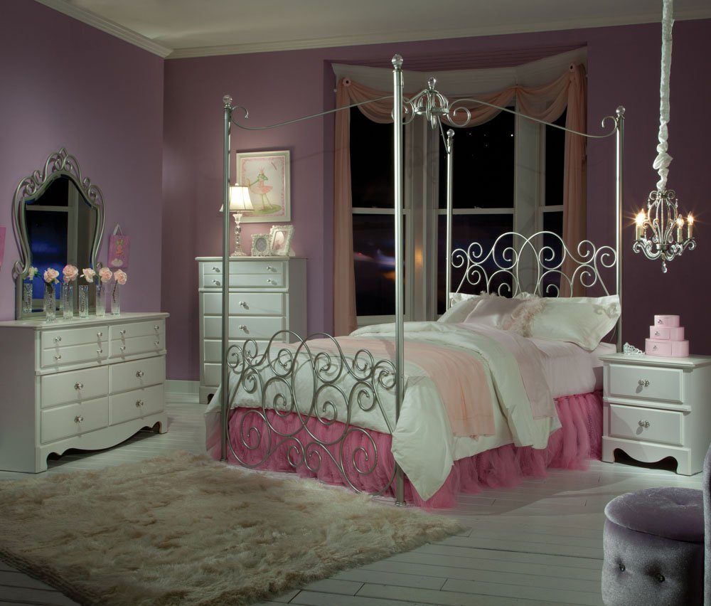 Marvelous Design Of The Princess Canopy Bed With White Fur Rugs Added With White Wooden Cabinets And Purple Wall Ideas