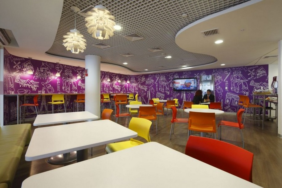 Marvelous Design Of The Purple Cafe At Seattle Wit Purple Wall Added With Red And Yellow Chairs Ideas