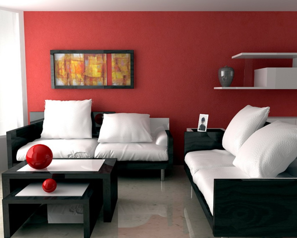 Marvelous Design Of The Red Living Room With White And Black Sofa Ideas  Added With Red Part 58