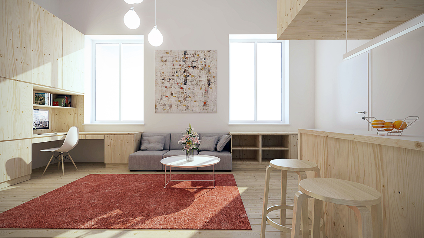 Marvelous Design Of The Small Apartment Design With Red Rugs Added With Young Brown Wooden Kitchen Island And White Wall Ideas