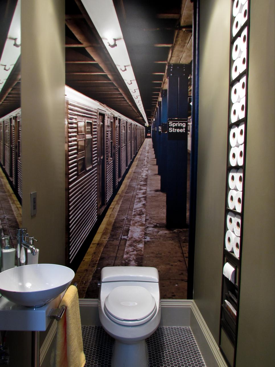 Marvelous Design Of The Small Bathroom Storage With Amazing Pics On The Wall Added With Grey Wall And White Sink And Toilets