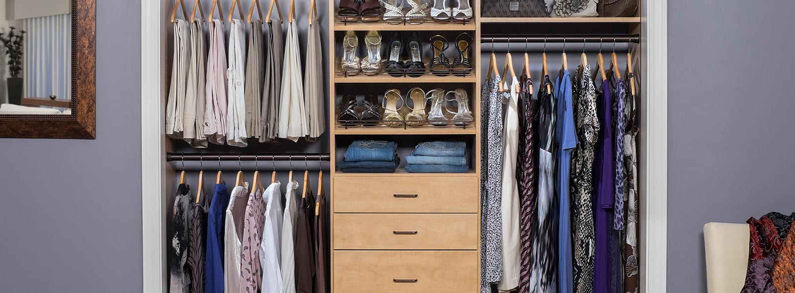 Marvelous Design Of The Small Closet Design With Young Brown Wooden Drawers Added With Grey Wall Ideas