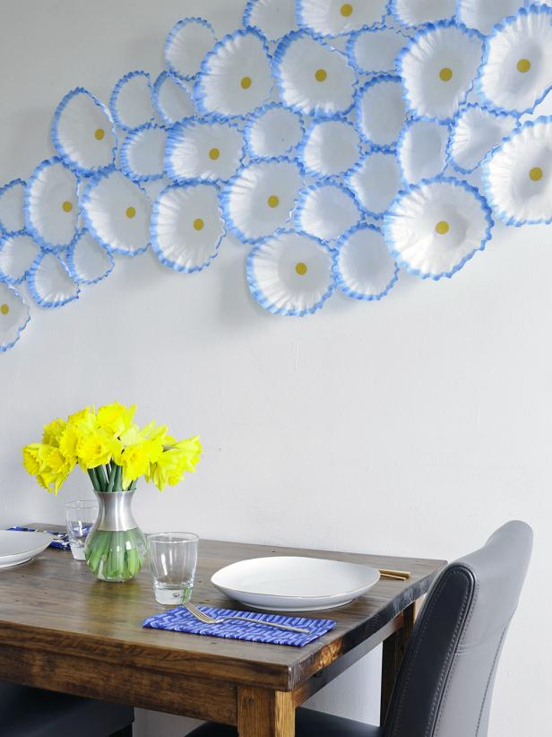 Marvelous Dining Area With Blue and White Wall Art Above Table and Chair