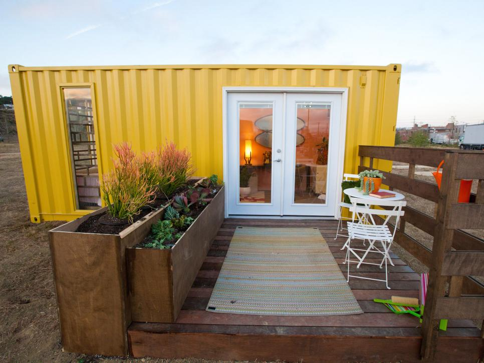 Marvelous Exterior Self Sustaining Homes With Yellow Wall also Mini Deck