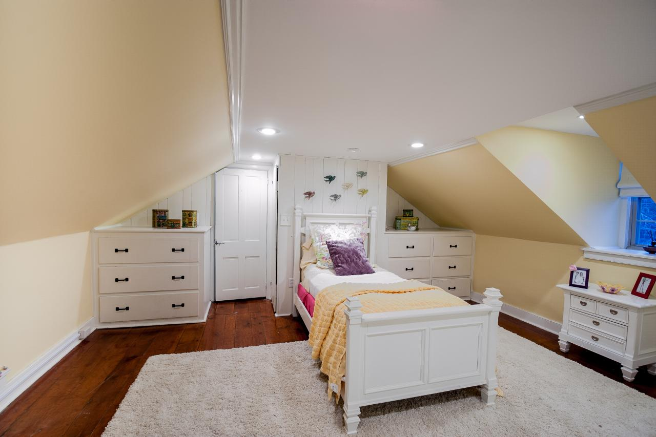 Marvelous Girl Bedroom With Slanting Ceiling also White Furniture Decor