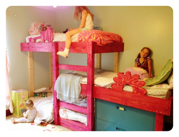 Marvelous Girl Room Using Pink Wooden Bunk Beds With Ladder and Drawers