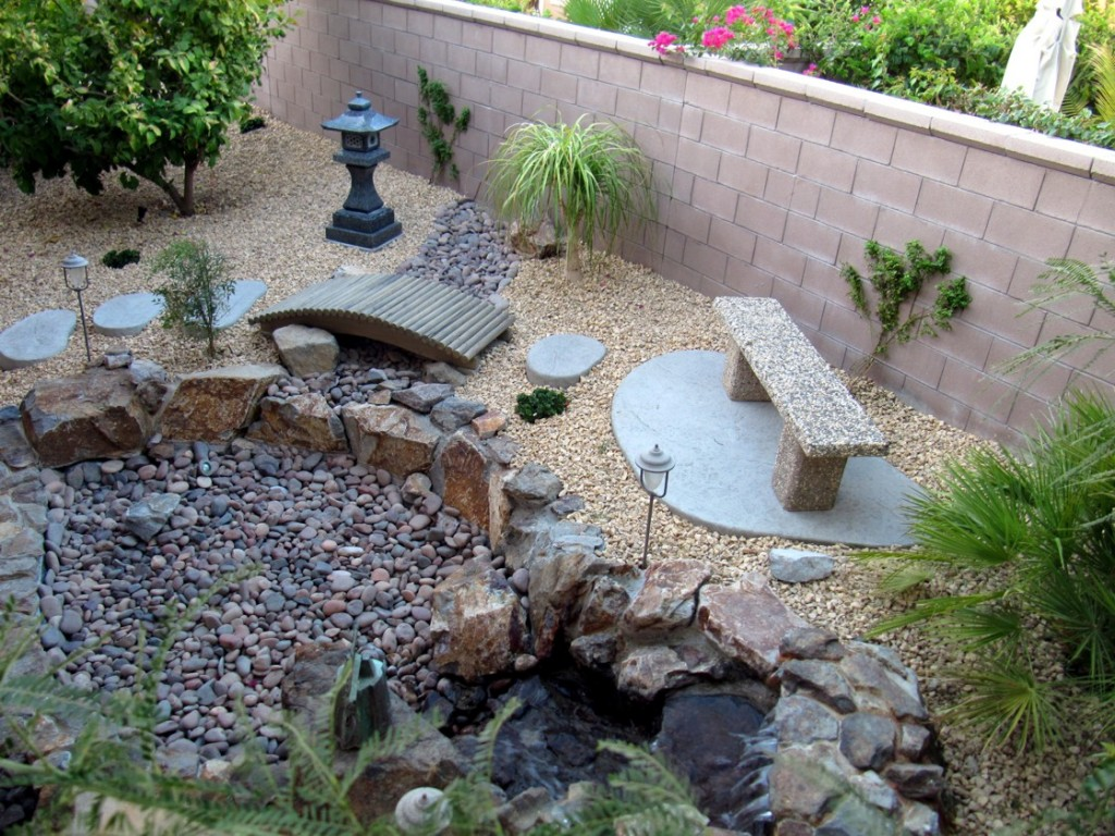 Marvelous Gravel right for Japanese Garden Design with  Chair and Fence