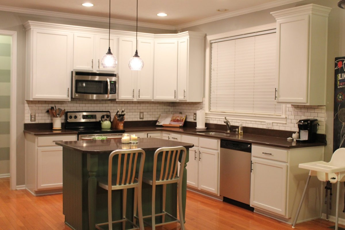 Marvelous Kitchen With Cabinet also Mini Bar Table and Chair Under Pendant Lighting