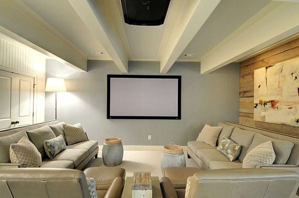 Marvelous Movie Room Ideas Using Charming Sofa  and Bright Lighting
