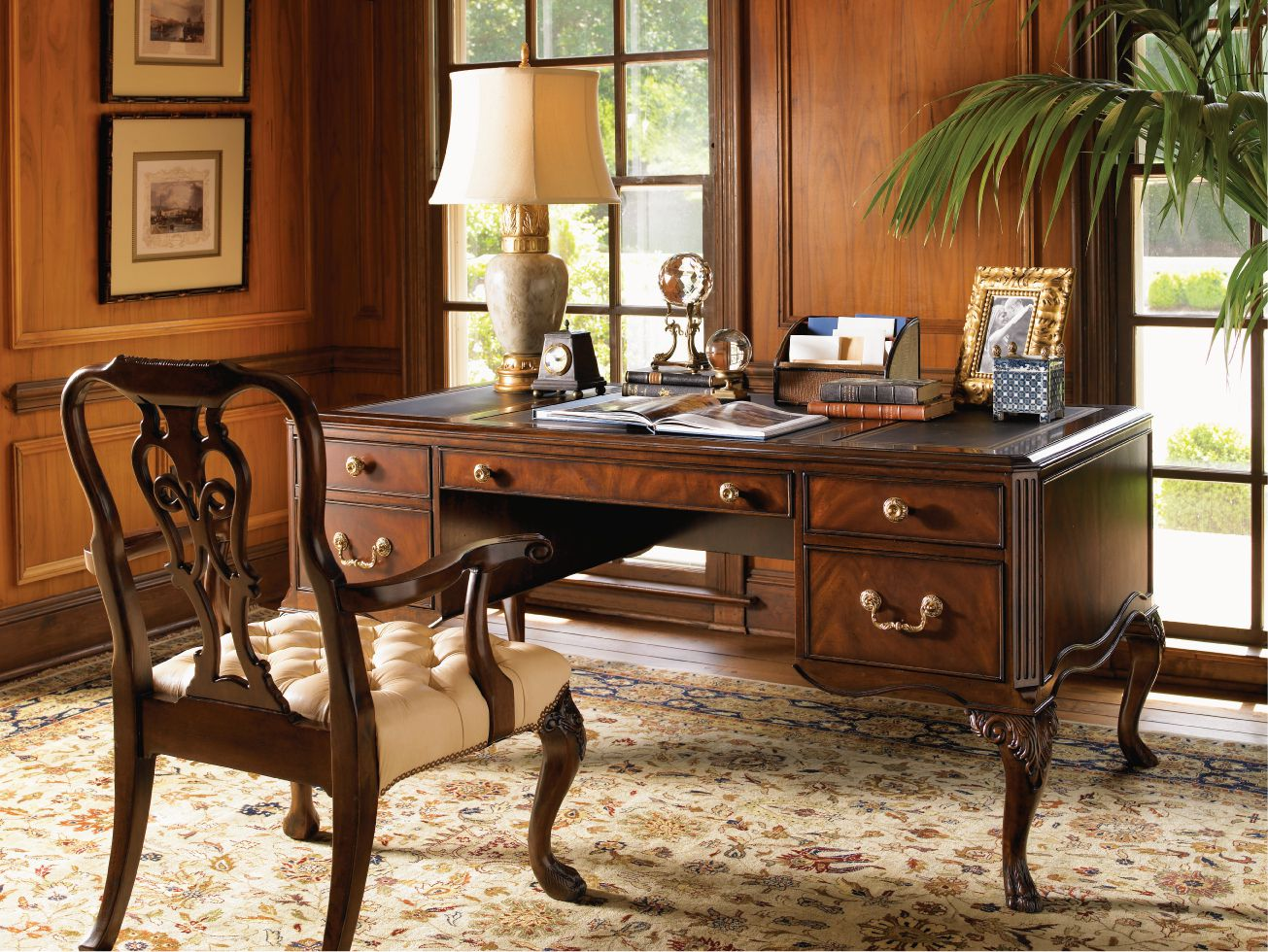 Marvelous Room With Elegant Wood Office Desk also Table Lamp and Chair