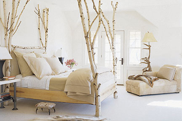 Marvelous Tree Branch Decor Ideas For Bed and Floor Lamp