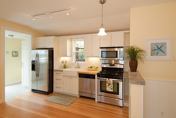 Minimalist Cabinet also Stove Plus Refrigerator To Decorate Small Kitchen Layouts