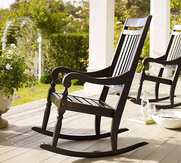 Ordinaire Minimalist Deck Decoration Ideas Using Black Rocking Chair Of Wooden