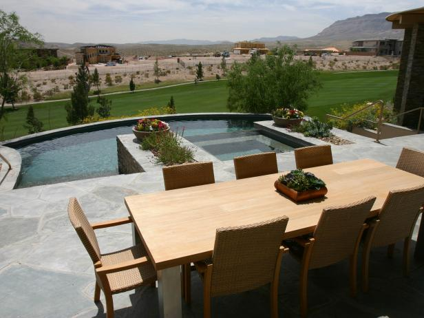 Minimalist Deck With Brown Wooden Pool Dining Table also Lavish Chairs