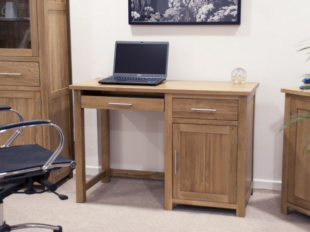 Minimalist Design Idea Of Brown Wooden Desk With Three Drawers