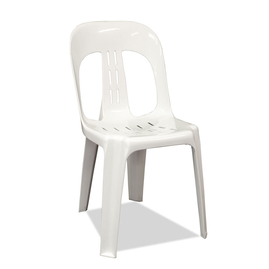 Minimalist Design of White Plastic Chairs With Neat Back and Seat