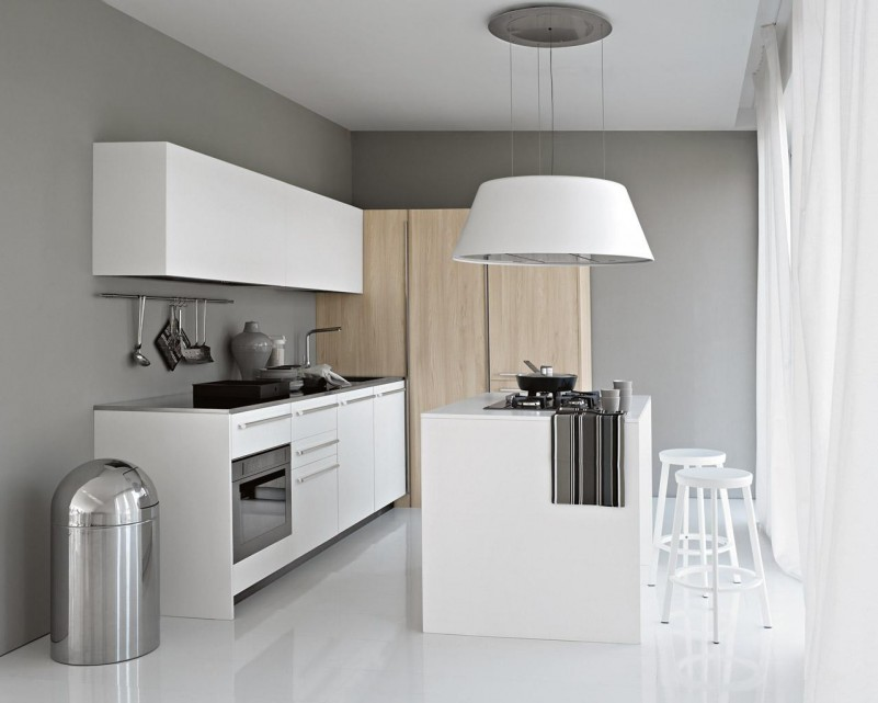 Minimalist Kitchen With Cabinet And Bar Chair Also Huge White Lamp Shade  Chandelier