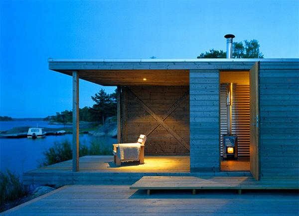 Minimalist Terrace Summer House Design With Chair also Built In Lamp