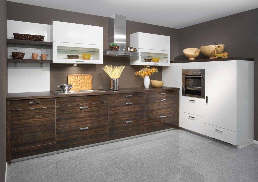 Minimalist Wooden Cabinet Plus Mounted Shelve For Decorating Small Kitchen