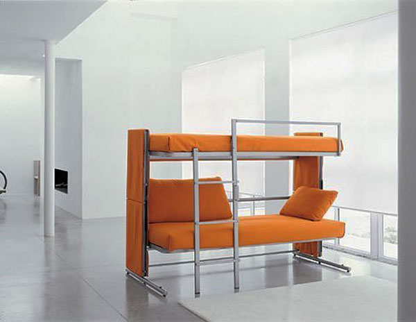 Modern Bunk Beds Design With Chrome Frame And Ladder Style