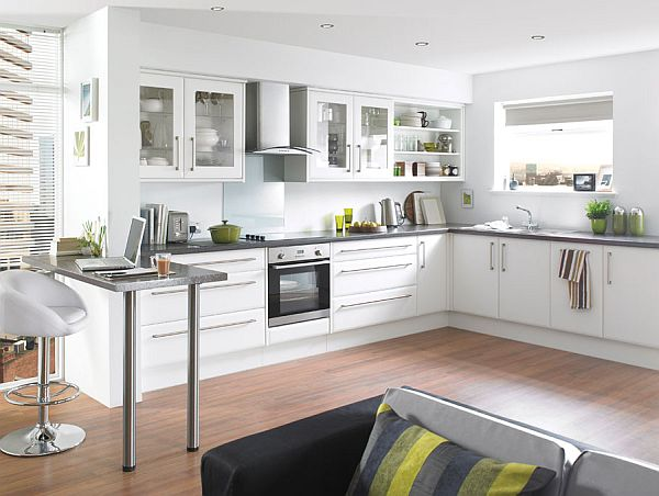 Modern Furniture For White Kitchen Designs With L Shape Cabinet also Stools