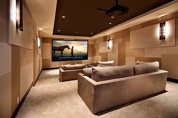 Modern Interior Movie Room With Sofa Set also Wall Lamps