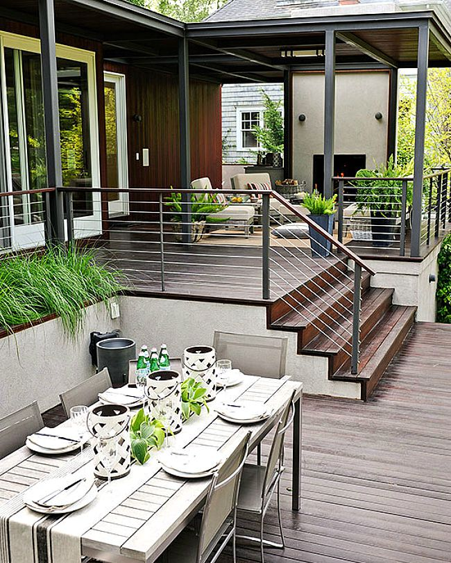 High Quality Modern Porch Railing Ideas With Iron Also Outdoor Dining Table