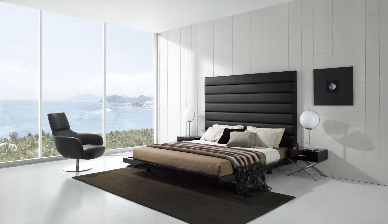 Modern Wall and Floor For White Bedroom Ideas also Black Bed and Chair