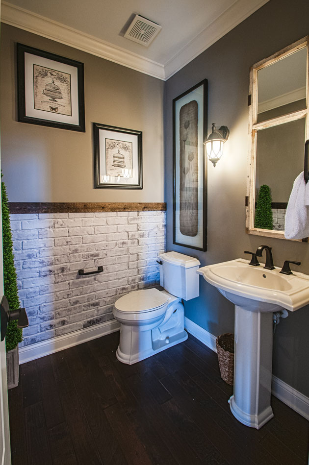 Narrow Bathroom Using Rustic Wall Also Cute Toilet And Vanity