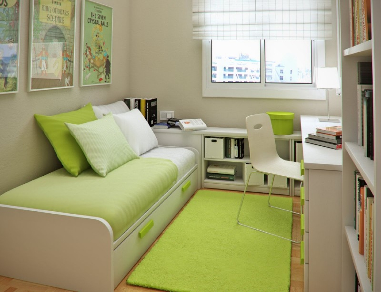 Narrow Kids Bedroom With White Ideas Using Green Accent Design