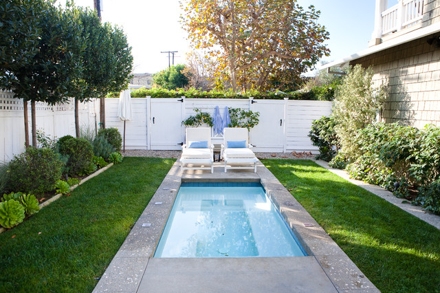 Narrow Pool also Long Beach Chair With Blue Pillows For Yard Design