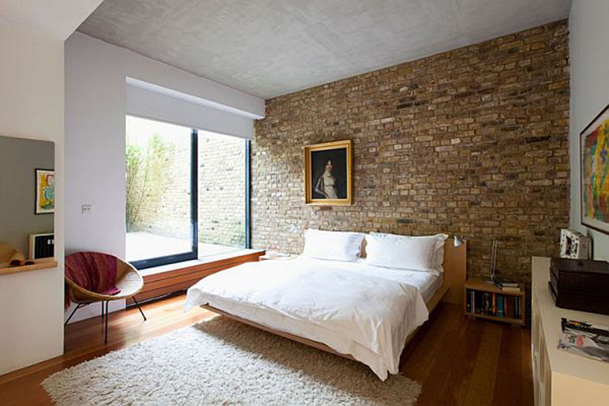 Natural Brick Background also Charming Bed For Best Modern Rustic Bedroom