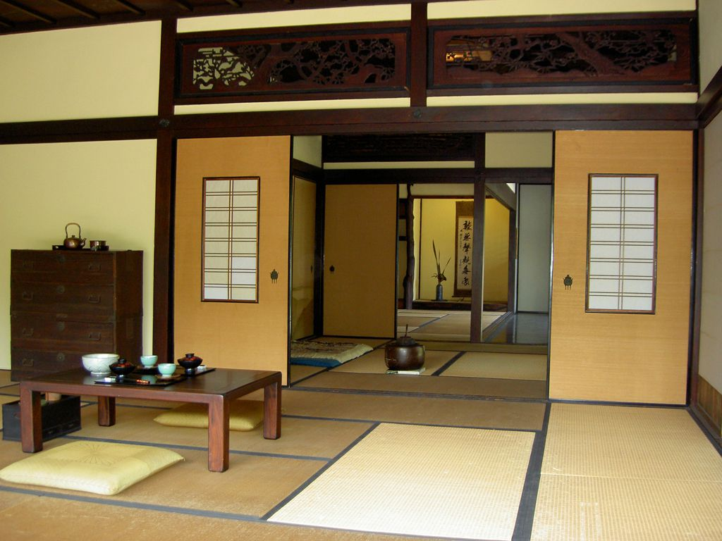 Nervous Japanese Dining Space Using Wooden Table also Comfortable Cushions