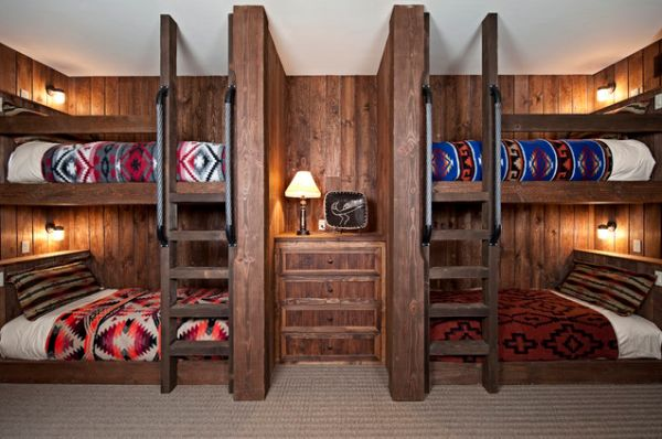 Nervous Wooden Dresser and Table Lamp Between Luring Bunk Beds